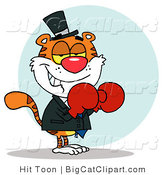 Big Cat Vector Clipart of a Boxer Tiger with Red Gloves by Hit Toon