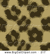 Big Cat Vector Clipart of a Brown Leopard Fur Pattern Background by Arena Creative