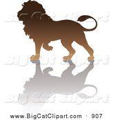 Big Cat Vector Clipart of a Brown Lion Silhouette by Pams Clipart