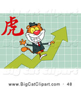 Big Cat Vector Clipart of a Business Tiger on a Growth Arrow, with a Year of the Tiger Chinese Symbol by Hit Toon