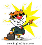 Big Cat Vector Clipart of a Business Tiger Pointing over a Burst by Hit Toon