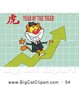 Big Cat Vector Clipart of a Business Tiger Riding a Profit Arrow, with a Year of the Tiger Chinese Symbol and Text by Hit Toon