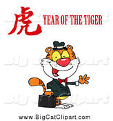 Big Cat Vector Clipart of a Business Tiger with a Year of the Tiger Chinese Symbol by Hit Toon
