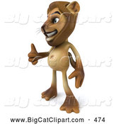 Big Cat Vector Clipart of a Cheerful Lion Character Giving the Thumbs up by Julos