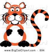Big Cat Vector Clipart of a Chubby Tiger Sitting up on His Hind Legs and Rubbing His Belly by Kaycee