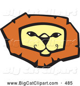 Big Cat Vector Clipart of a Confident Lion Face on White by Xunantunich