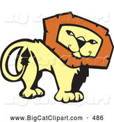 Big Cat Vector Clipart of a Confident Lion Looking Back on White by Xunantunich