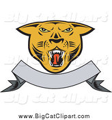 Big Cat Vector Clipart of a Cougar and Blank Banner by Patrimonio