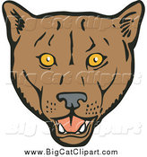 Big Cat Vector Clipart of a Cougar Face by Patrimonio
