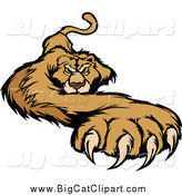 Big Cat Vector Clipart of a Cougar with a Paw Stretched Outwards by Chromaco