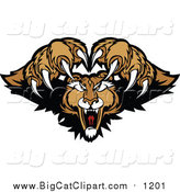 Big Cat Vector Clipart of a Couger Pouncing by Chromaco