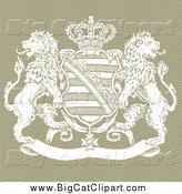 Big Cat Vector Clipart of a Crown Crest Shield and Lions by BestVector
