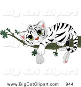 Big Cat Vector Clipart of a Cute Baby White Tiger Resting on a Branch by Pushkin