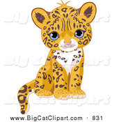 Big Cat Vector Clipart of a Cute Blue Eyed Jaguar Cub Sitting by Pushkin