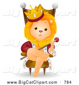 Big Cat Vector Clipart of a Cute King Lion on a Throne by BNP Design Studio