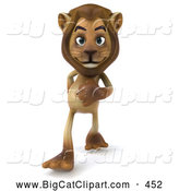 Big Cat Vector Clipart of a Cute Lion Character Walking Forward by Julos
