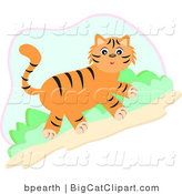 Big Cat Vector Clipart of a Cute Orange Tiger Walking Uphill by