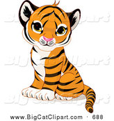 Big Cat Vector Clipart of a Cute Sitting Baby Tiger Cub by Pushkin