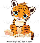 Big Cat Vector Clipart of a Cute Sitting Baby Tiger Cub with Blue Eyes by Pushkin