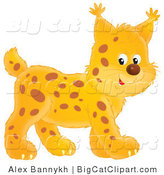 Big Cat Vector Clipart of a Cute Walking Bobcat by Alex Bannykh