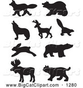 Big Cat Vector Clipart of a Digital Collage of Profiled Black Forest Animal Silhouettes, on White by JR