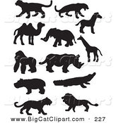 Big Cat Vector Clipart of a Digital Collage of Profiled Black Silhouetted Wildlife on a White Background by JR
