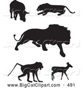 Big Cat Vector Clipart of a Digital Set of Animal Silhouettes; Boar, Panther, Lion, Baboon and Deer by JR