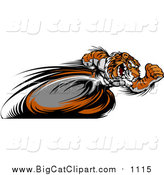 Big Cat Vector Clipart of a Fast Sporty Tiger Mascot Running Upright with Blurred Legs by Chromaco