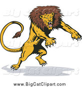 Big Cat Vector Clipart of a Fierce Leaping and Attacking Lion by Patrimonio