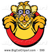 Big Cat Vector Clipart of a Friendly Cute Tiger Cub Emerging from a Red Circle by Andy Nortnik