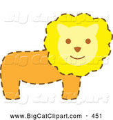 Big Cat Vector Clipart of a Friendly Happy Male Lion with a Brown Dash Outline by Cherie Reve