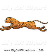 Big Cat Vector Clipart of a Friendly Running Cheetah in Profile by Paulo Resende