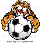July 10th, 2015: Big Cat Vector Clipart of a Friendly Tiger Mascot Holding up a Soccer Ball by Chromaco