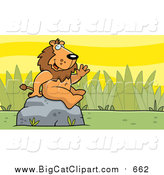 Big Cat Vector Clipart of a Friendly Waving Male Lion Character on a Rock by Cory Thoman