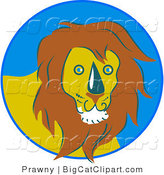 Big Cat Vector Clipart of a Friendly Yellow Male Lion in a Blue Circle by Prawny