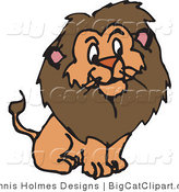 Big Cat Vector Clipart of a Furry Male Lion by Dennis Holmes Designs