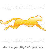 Big Cat Vector Clipart of a Golden Running Cheetah by AtStockIllustration