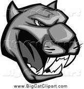 Big Cat Vector Clipart of a Grayscale Aggressive Growling Panther Head by Vector Tradition SM
