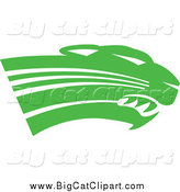 Big Cat Vector Clipart of a Green Panther Cougar or Jaguar Head by Johnny Sajem
