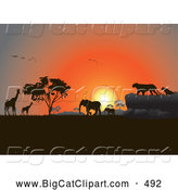 Big Cat Vector Clipart of a Group of Silhouetted Giraffes, Birds, Elephants and Big Cats Against an Orange African Sunset by Pauloribau