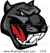 Big Cat Vector Clipart of a Growling Black Panther Head by Vector Tradition SM