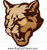 Big Cat Vector Clipart of a Growling Cougar Head by Chromaco