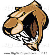Big Cat Vector Clipart of a Growling Cougar Mascot Face by Chromaco
