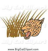 Big Cat Vector Clipart of a Growling Leopard over Grasses by Patrimonio
