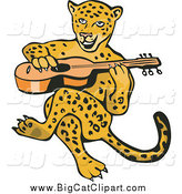 Big Cat Vector Clipart of a Guitarist Jaguar Sitting by Patrimonio