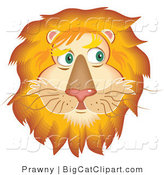 Big Cat Vector Clipart of a Handsome Fluffy Lion Face with a Golden Mane by Prawny