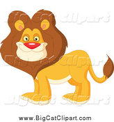 Big Cat Vector Clipart of a Handsome Happy Male Lion with a Thick Mane by Yayayoyo