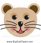Big Cat Vector Clipart of a Happy Cat Face by Lal Perera