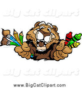 Big Cat Vector Clipart of a Happy Cougar Holding out Art Crayons Paintbrushes and Pencils by Chromaco