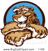 Big Cat Vector Clipart of a Happy Cougar Mascot with Crossed Arms by Chromaco
